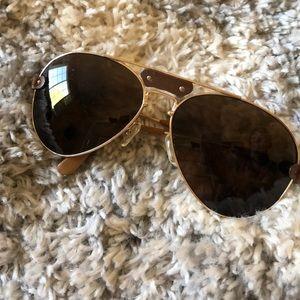 CHLOE aviator is glasses w/ gold leather trim